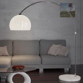 Retro design Booglamp - Staande Vloerlamp - Zilver - Opaalwit