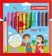 STABILO Cappi - Viltstift - Nooit Meer Je Dop Kwijt Dankzij De Dopring - Etui Met 12 Kleuren + 1 Dopring
