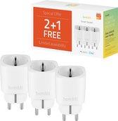 Hombli Smart Socket 230V, WiFi Stopcontact, Timerfunctie, Energiemonitoring, Werkt met Amazon Alexa, Google Home - Bediening via Hombli App [Energieklasse A+] Promo Pack 2+1