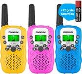 Omnium - Walkie Talkie voor Kinderen - Volwassenen - Portofoon - 3 stuks - 3 KM bereik -  Inc. 12 batterijen