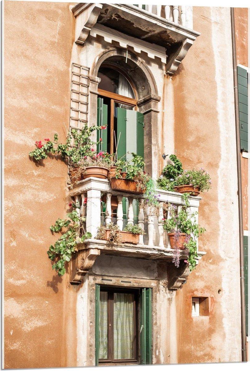 Plexiglas - Plantenpotjes op Balkon - 60x90cm Foto op Plexiglas (Wanddecoratie op Plexiglas)