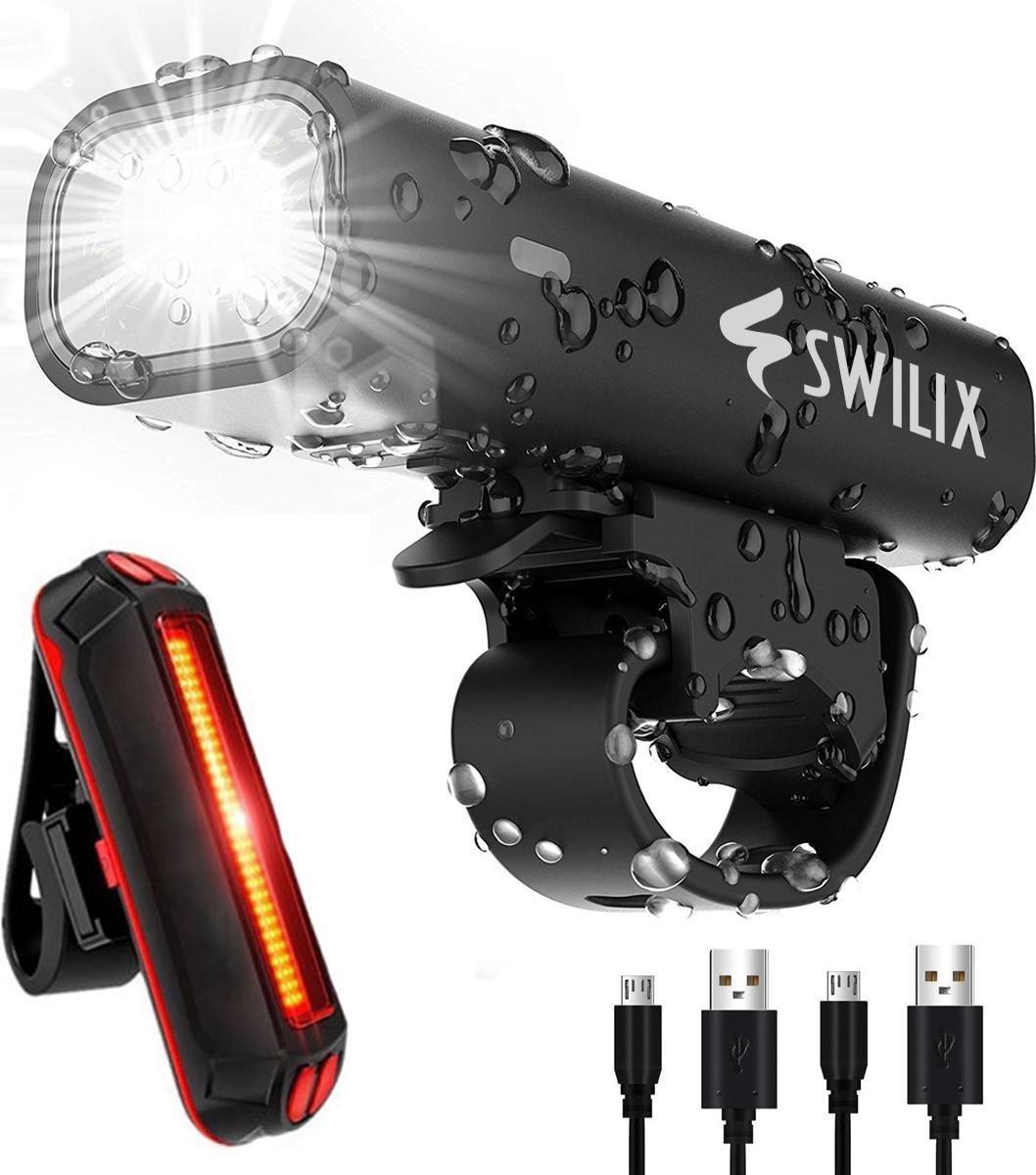 SWILIX   - Fietsverlichting Set - Oplaadbare USB Led Fietslamp - Voor en Achter - Waterdicht - 4 Lic