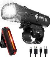 SWILIX ® - Fietsverlichting Set - Oplaadbare USB Led Fietslamp - Voor en Achter - Waterdicht - 4 Lichtstanden - Zwart