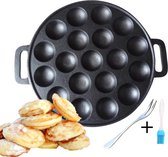 Avenchy® Poffertjespan- Poffertjesmaker- Inc. Gratis Kwast, Vork- Poffertjesplaat- 19 poffertjes - Gietijzer