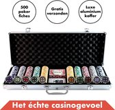 Pokerset 500 Pokerfiches Laser - Luxe Aluminium Koffer – 5 Dobbelstenen – 1 Pokerbuttons - Pokerkoffer (500 Poker chips) - Blackjack Speelkaarten Volwassenen – Toernooi Pokerkaarten – Casinoset Kopen – Poker Cards Strip pokeren - Texas Hold'Em