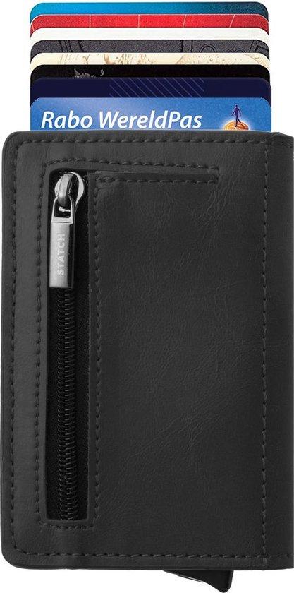 Statch Portemonnee Luxe Uitschuifbare Pasjeshouder van Aluminium & Leer - Creditcardhouder / Kaarthouder voor mannen en vrouwen - Anti-Skim / RFID Card Protector 7 tot 8 Pasjes - Zwart