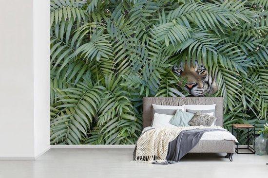 Fotobehang vinyl - Verstopte tijger tussen de planten breedte 420 cm x hoogte 280 cm - Foto print op behang (in 7 formaten beschikbaar)