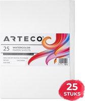 ARTECO® 25 vellen Aquarelpapier – Aquarelblok – Tekenblok – 300 gr/m2 – A4 Formaat