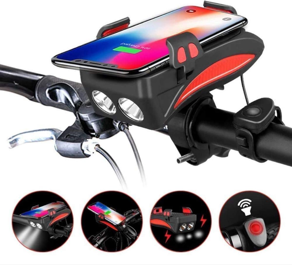 4 in 1 Fietsverlichting USB oplaadbaar - Telefoonhouder fiets - Powerbank - Fietslamp - Fietsbel - 3