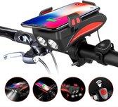 4 in 1 Fietsverlichting USB oplaadbaar - Telefoonhouder fiets - Powerbank - Fietslamp - Fietsbel - 3 lichtstanden - Waterdicht
