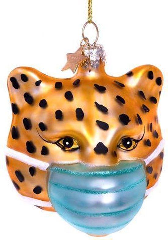 Vondels Glazen kerst decoratie gouden panter met masker H7.5cm