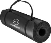 Gymston Fitnessmat Inclusief draagtas en extra draagriem - 183 cm x 61 cm x 1 cm - Zwart