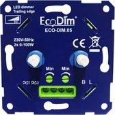 DUO led dimmer inbouw – fase afsnijding  - 2x 0-100W - Universeel - Druk-draai schakelaar, Draaidimmer voor LED Lampen, 100% Stil