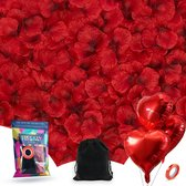 Fissaly® 2000 Stuks Rode Rozenblaadjes met Hartjes Ballonnen – Romantische Liefde Versiering – Liefdes Cadeau Decoratie – Love - Rood - Cadeautje