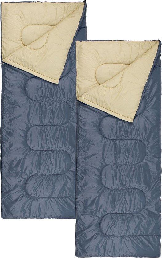 Abbey Camp Slaapzak Basic - 2-Pack - 210 x 85 cm - Koppelbaar  - Grijs/Zand