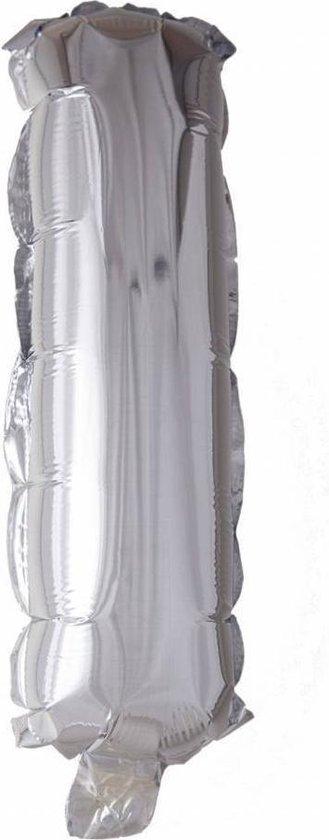 Folie Ballon Letter I Zilver 41cm met Rietje