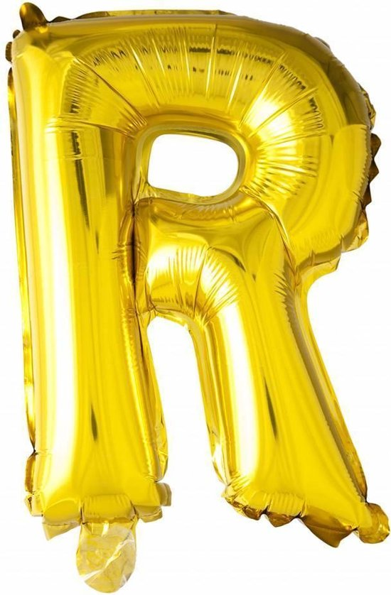 Folie Ballon Letter R Goud 41cm met Rietje