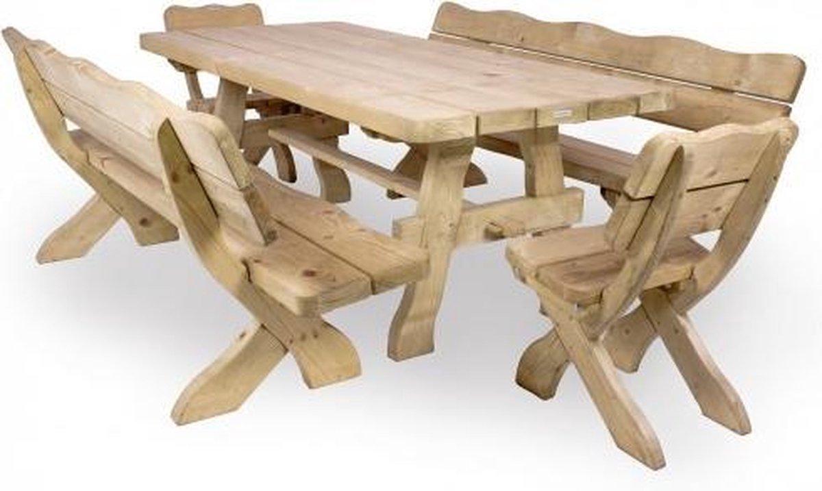 MaximaVida houten tuinset Provence 200 cm met 1 tafel en 2 stoelen en 2 banken