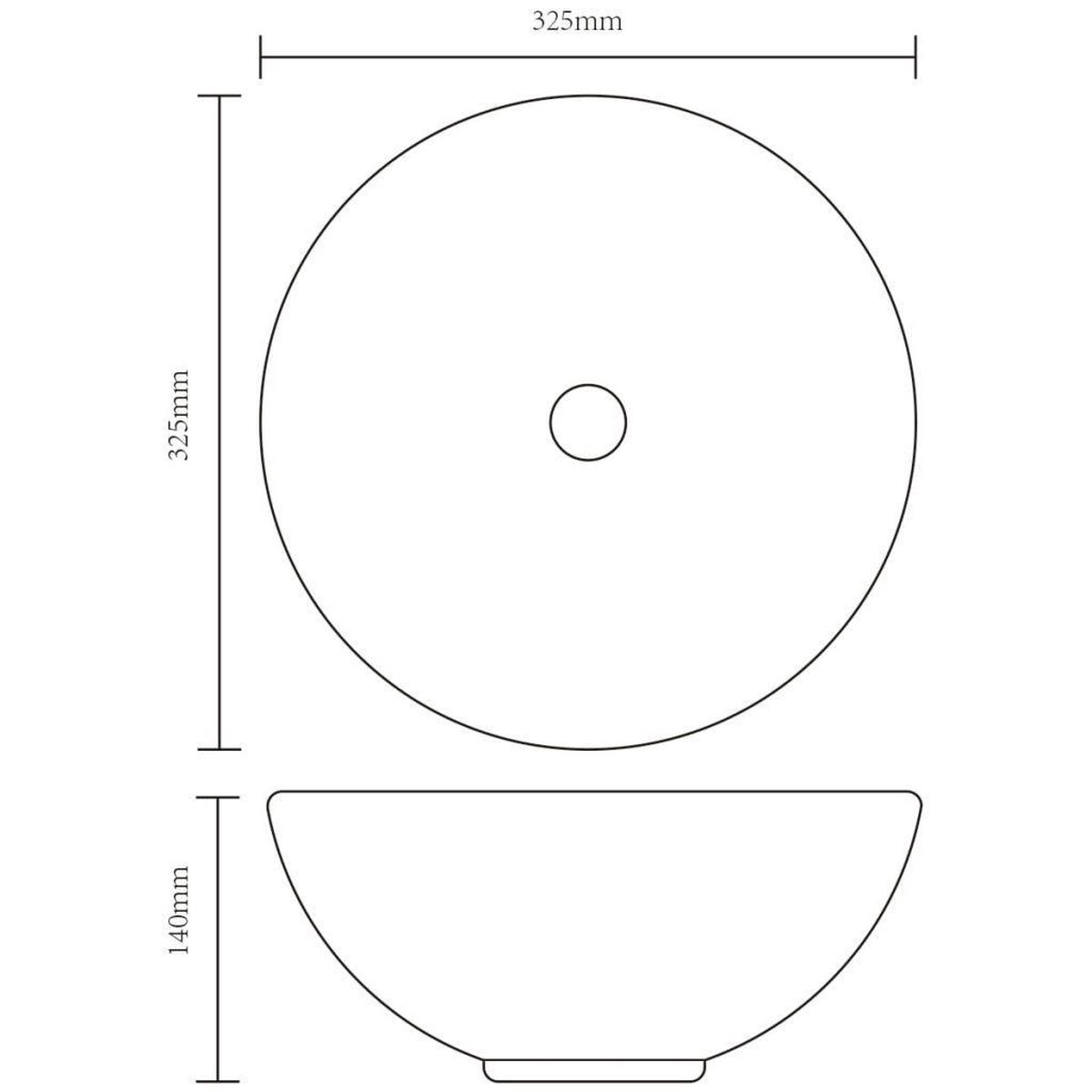 vidaXL Wasbak. keramiek. rond. zwart 325 mm