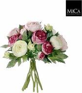 Mica Decorations ranonkel boeket maat in cm: 22 roze