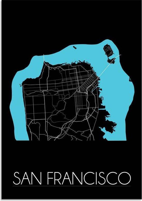 Plattegrond San Francisco Stadskaart poster DesignClaud - Zwart - A4 Poster