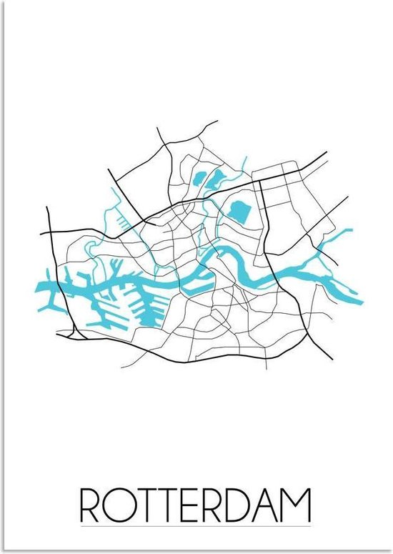 Plattegrond Rotterdam Stadskaart poster DesignClaud - Wit - A3 + fotolijst wit