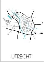Plattegrond Utrecht Stadskaart poster DesignClaud - Wit - A4 Poster