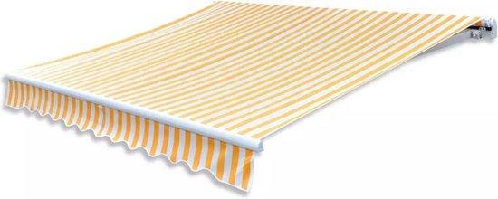 Geel wit canvas zonnescherm met luifel 6 x 3 m