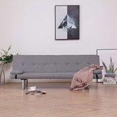 vidaXL Slaapbank met twee kussens polyester lichtgrijs
