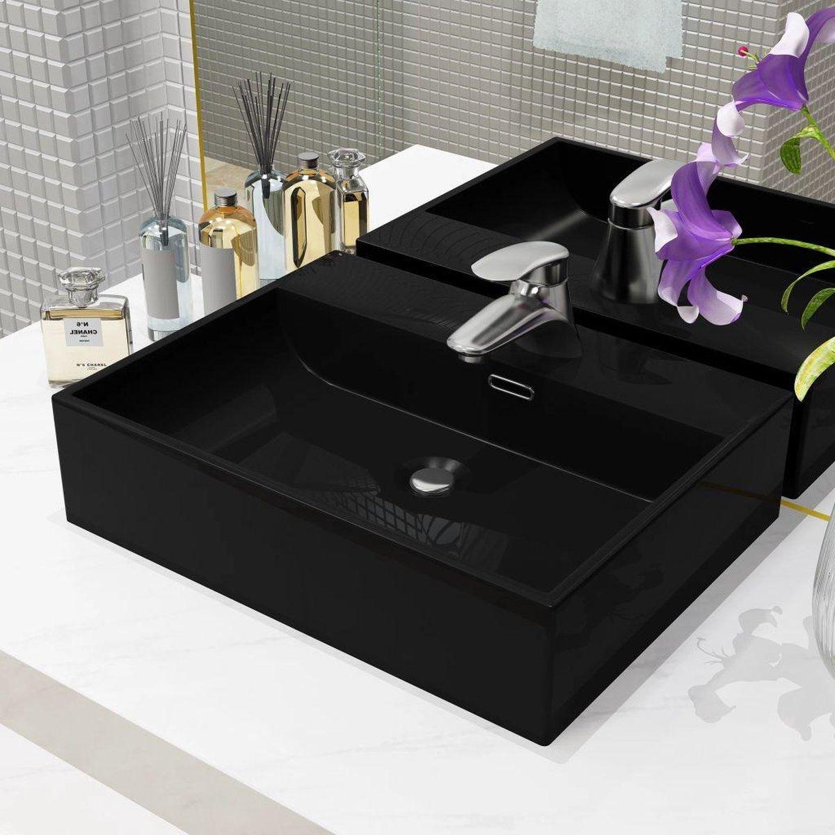 vidaXL Wastafel met kraangat 51.5x38.5x15 cm keramiek zwart