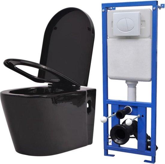 vidaXL Toilet met Stortbak Zwart Wc-Pot Toiletpot Badkamer WC Sanitair Pot
