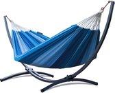 Hangmat met standaard – 2 persoons – frame grafiet – doek blauw – Potenza