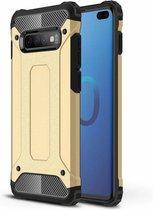 Ntech Samsung Galaxy S10 Hybrid Armor Hoesje - Goud