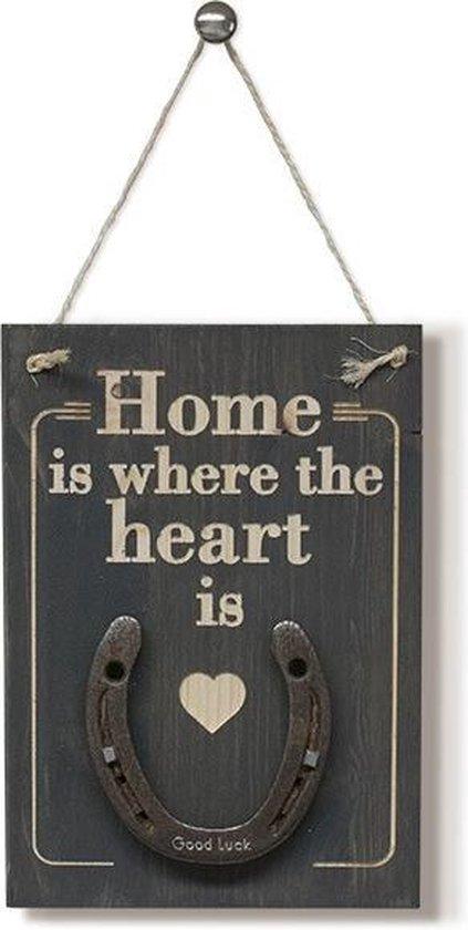 Home is where the heart is, wandbord met echt hoefijzer