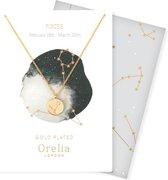 Orelia ketting kort met sterrenbeeld 'Vissen' goudkleurig met giftcard en envelop