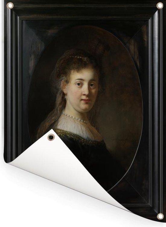 Jonge vrouw in gefantaseerde kleding - Schilderij van Rembrandt van Rijn Tuinposter 30x40 cm - klein - Tuindoek / Buitencanvas / Schilderijen voor buiten (tuin decoratie)
