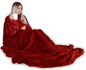MikaMax Snuggie Rug Deluxe - Plaid - Deken Met Mouwen - Hoodie Deken - 150 x 215 cm - rood