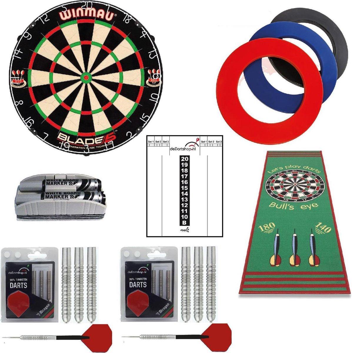 Winmau - Professional Startersset - Dartbord - dartpijlen - zwarte surround ring - dartmat - Whitebord - Wisser - stiften