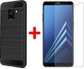 Geborsteld Hoesje voor Samsung Galaxy A8 (2018) Soft TPU Gel Siliconen Case Zwart + Tempered Glass Screenprotector Transparant