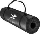 Siston Sport Fitnessmat - 183 x 61 x 1.5 cm - Zwart - met Draagtas