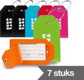 TravelMore Leren Kofferlabel - Luxe Bagage Label Leer voor Koffers en Tassen - Reislabel - Adreslabels - Luggage Tag - 7 Stuks - Willekeurige Kleuren