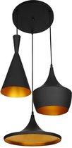 Lumenzy Triple Hanglamp - Zwart - Goud