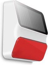ES-S8A OUTDOOR solar sirene 100dB met stroboscoop voor alle eTIGER draadloze alarmsystemen.