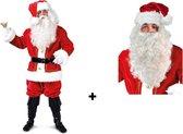 Kerstman pak pluche luxe + baard/pruik set luxe - kerst man ho ho ho noordpool kerstboom winter december kerst feest festival arreslee rendier