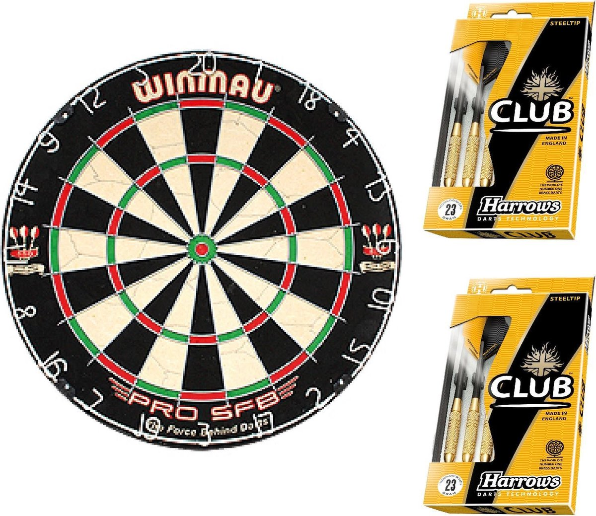 Dragon darts - Green startersset - Winmau pro sfb - dartbord - plus 2 sets Harrows - dartpijlen