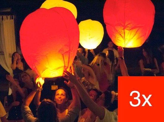 3 x Gekleurde Wensballonnen vliegende papieren lantaarns ufo ballon