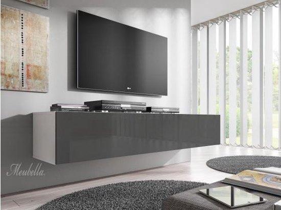 Meubella - TV-Meubel Flame - Grijs - Wit - 160 cm