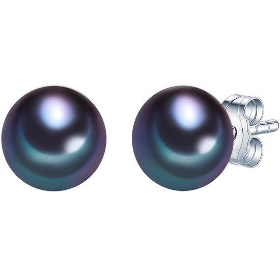 Valero Pearls Parel oorstekers Sterling zilver Gekweekte zoetwaterparels pauw blauw