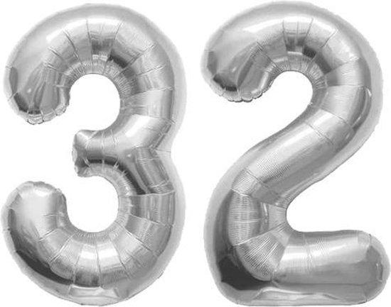 Cijfer 32 Zilver Helium 86 cm excl. helium