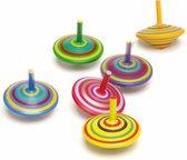 Houten tollen gekleurd 6 stuks